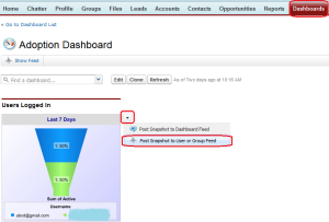 Posting Dashboard Snapshots to Chatter Step -1