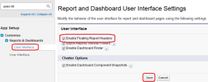 Report and Dashboard User Interface Setting