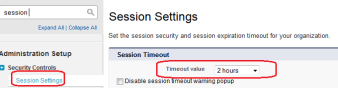 Session Timeout Value Settings