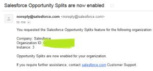 Salesforce Opportunity Splits Enable Notification