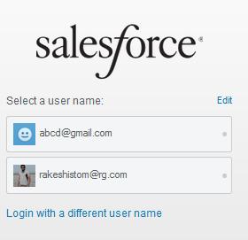 Select username to login