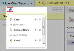 Attach record to chat transcript
