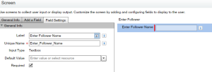 Screen 1 - To get follower name