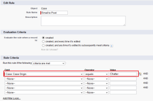 Workflow Rule on Case Creation when Case origin equals Chatter