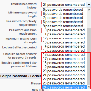 Enforce password history
