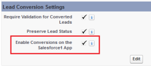 Convert leads from Salesforce1