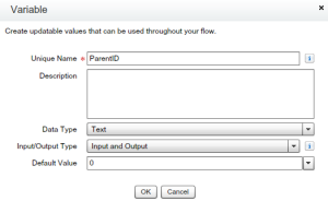 Variable to store new User ID