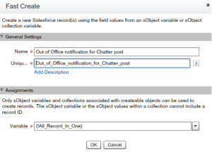Out of Office notification for Chatter post