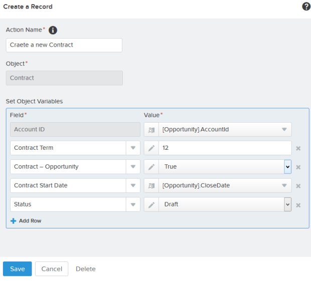 Add action – Create a Record (Create a new Contract)