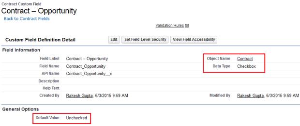 Custom field on Contract object
