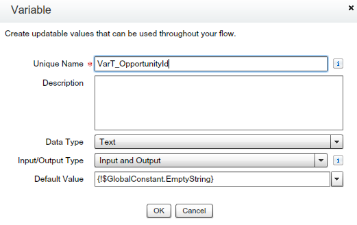 Text Variable (To store Opportunity ID)