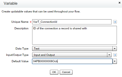 Text Variable (To store Partner Network Connection ID)