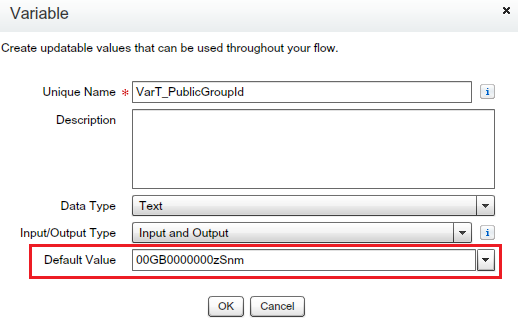 Text Variables to store Public group Id