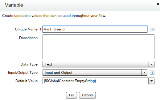 Text Variables to store user Id