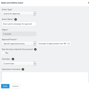 Add action – Submit for Approval