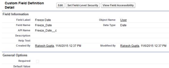 Custom field - Freeze Date