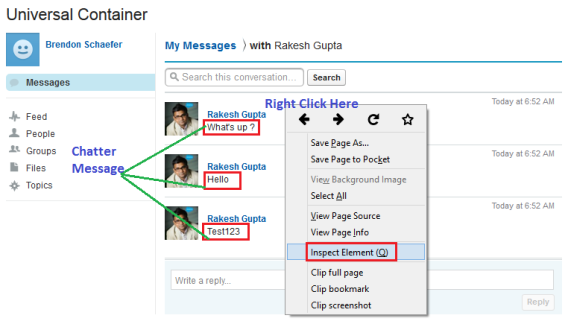 Select Inspect Element for a Chatter Message