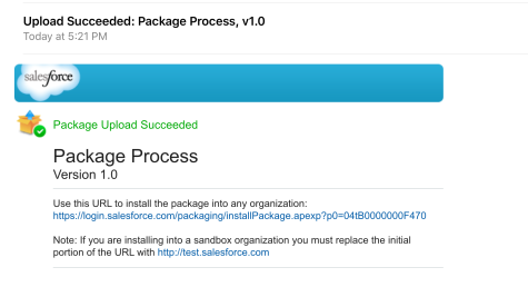Package Upload Succeeded - Email notification
