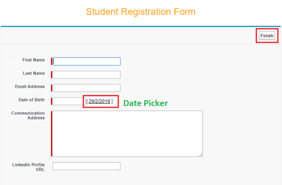 Student Registration Form - Embedded into the VF Page