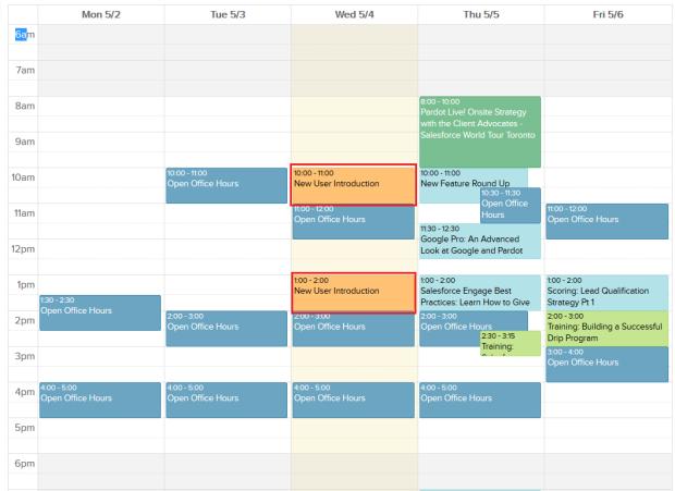 Pardot Client Services Calendar