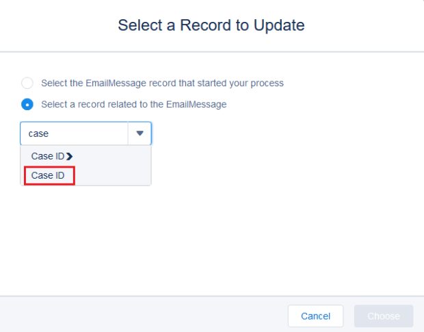 Select a record related to the EmailMessage
