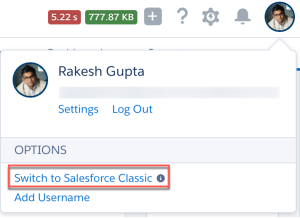 Switch to Salesforce Classic