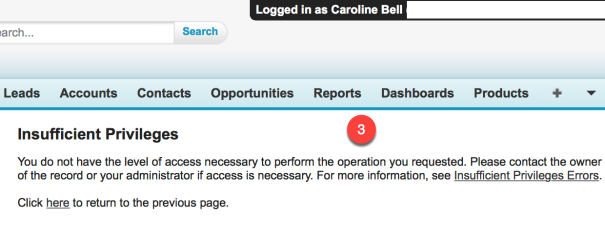 Error message recieved by - Caroline Bell