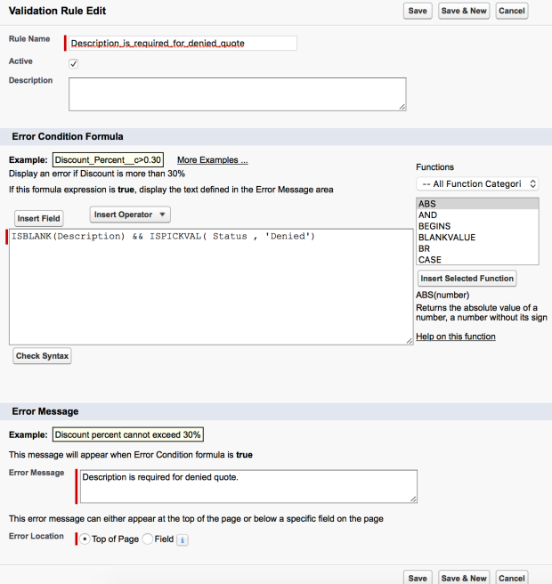 Validation Rule - Required Description field