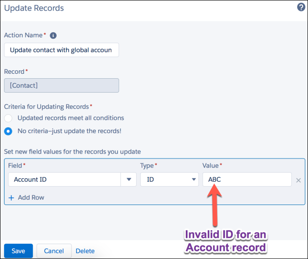 Update Contact with Global Account ID